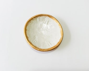 Handmade air clay dish - gold paint - shell texture - home decor