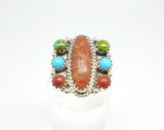 Coral Turquoise & Gaspeite Vintage Sterling Silver Signed Native American Ring - size L