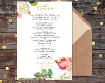 Simple wedding Menu template, wedding menu printable, wedding menu template fan, wedding menu printable