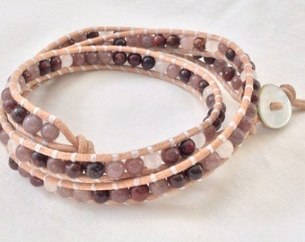 Leather and Gemstone Triple Wrap Bracelet