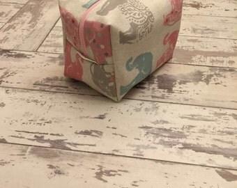 Handmade elephant print cosmetic bag.