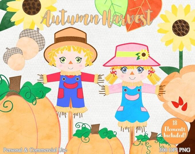 AUTUMN WATERCOLOR CLIPART Commercial Use Clip Art Scarecrows Pumpkins Sunflowers Acorns & Leaves Cute Fall Watercolour Clip Art Images
