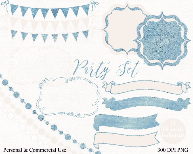 BLUE & BLUSH PINK Bunting Clipart Commercial Use Clip Art Baby Banner Bunting Fairy Light Birthday Planner Shower Wedding Invitation Clipart