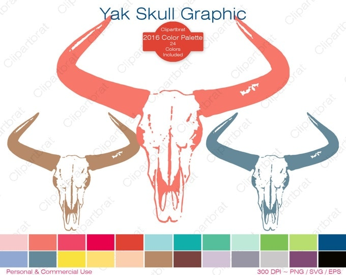 BOHEMIAN YAK SKULL Clipart Commercial Use Clipart Cattle Cow Head Graphic 2016 Palette 24 Colors Horns Vector Graphic Sticker Png Eps Svg