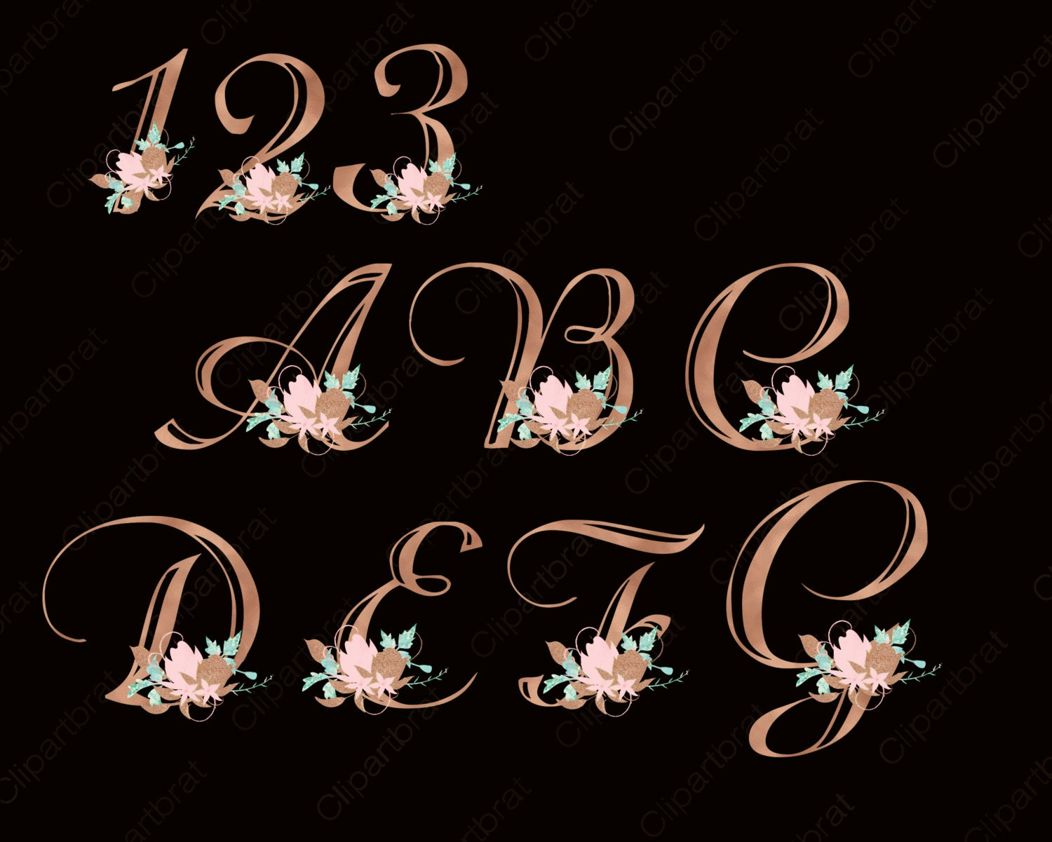 ROSE GOLD ALPHABET Clipart Commercial Use Clipart Wedding Monogram Letters Blush Pink Watercolor ...