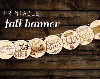 Fall Banner Printable with Hand Lettering - DIY Printable Fall Decor