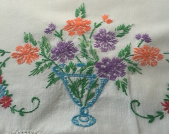 Vintage pillowcase with flowers