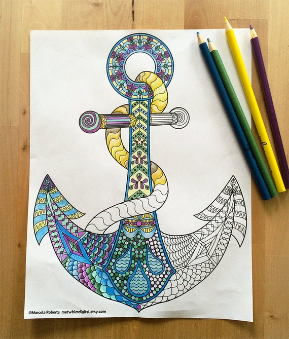 Anchor Coloring Page for Adults Anchor Adult by MetWhimDigital