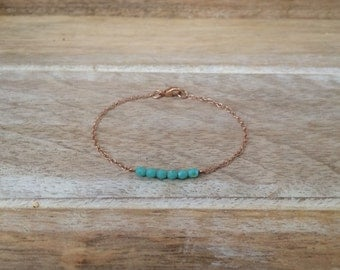 Rose Gold and Aqua Bracelet Rose Gold Bracelet Aqua Bracelet Bridesmaid Bracelet Rose Gold