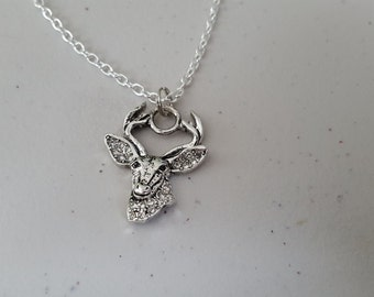 Deer head necklace with gems, silver