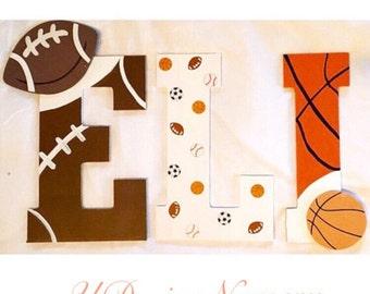 Sports Themed Wooden Nursery Letters - Nursery Decor - Sports Theme - Baby Shower Decor - Wooden Letters - Sports Letters - Sports Decor