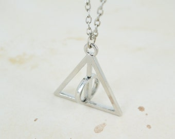 Harry Potter Inspired Deathly Hollows Rotating Symbol Pendant Necklace