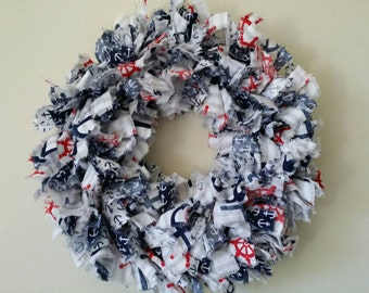 Cotton fabric rag wreath