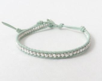 Mint Green and Silver Bracelet | Silver Beaded Mint Bracelet | Pastel Green Bracelet | Sea-foam Green Bracelet  116MGS