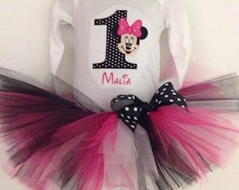 Minnie Mouse Tutu Black and Pink Set