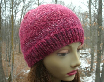 Seamless Ruby Red Hand Knit Beanie Hat Soft Wool Blend See Matching Scarf in Other Listings