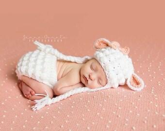 Crochet Lamb Hat, Crochet Lamb Diaper Cover and Hat Set, Lamb Photo Prop Set, Baby Sheep Diaper Cover Set, Girls Lamb Hat Set, MADE TO ORDER