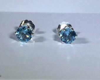 5 MM Swiss Blue Topaz SS Stud Earrings