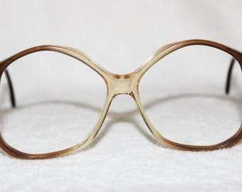 Vintage Womens Brown Plastic Eyeglass Frame, NOS, 54-18-145, Marked De Di or Ve Vi, New Old Stock, Item 21