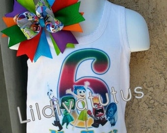Inside out birthday shirt / Inside Out shirt / Inside out birthday outfit / Inside out hair bow