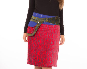 Reversible Red Velvet and Blue Cotton Skirt