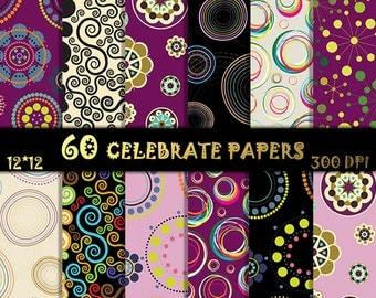 60 Celebrate Digital Papers Circles Scrapbook Paper Flower Patterns Circles Digital Paper Geometrical background Bold Floral Pattern