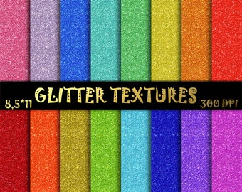 "Rainbow Glitter Digital Paper - Glitter Textures - Glitter Backgrounds  - Commercial Use - INSTANT DOWNLOAD 8,5"" x 11"""