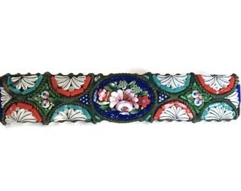 Antique Italian micro mosaic bar pin handmade glass brooch C clasp