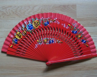 RED Painted Wooden Folding Hand Fan