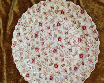 "ROSEBUD CHINTZ  13"" Round platter serving tray discontinued pink rose bud yellow flowers scalloped England Copeland Spode vintage china"