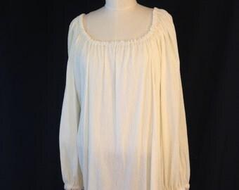 Ladies ivory peasant blouse with 3/4 sleeves, size medium