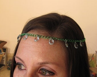 Mermaid Crystal Head Chain ~ Green Chain with Faceted Aqua Drops ~ Hair Chain ~ Head Piece For a Mermaid