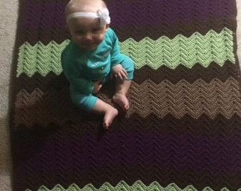 Crochet blanket, afghan, baby blanket, ripple afghan