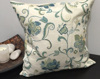 "18"" (45cm) Green Jacquard Floral Cushion Cover"