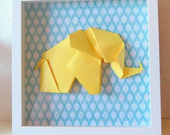 Yellow child frame in Origami Elephant - size XL - table origami for baby