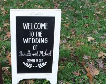 Wedding Chalk board Sign, Chalk board Easel, Shabby Chic Chalkboard Sign, Reception Sign