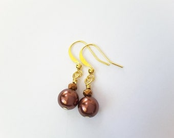 Cocoa Pearls and Crystals Dangles . Earrings