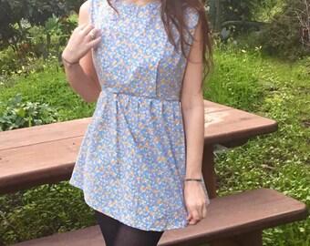 blue retro mini dress