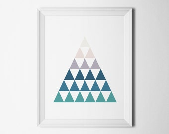 Blue print download Teal home decor art Geometric print Modern wall art triangle Home interiors pictures Instant download printable art