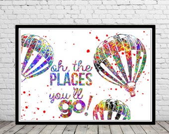 Vintage Hot Air Balloon, Oh the places you'll go!,  Dr Seuss Quote, watercolor print, Nursery, Kids Room Decor (1857b)