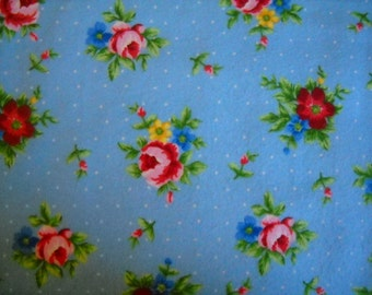 Garden Roses on Blue Flannel Baby Crib Sheet
