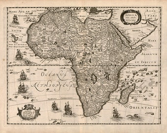 Map Of Africa 1640.  Chez Iean Boisseau.  Africae Nova Tabula;  Antique Reprint