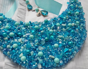 Turquoise blue embroidered beaded bib necklace | Вib statement necklace | Free shipping!