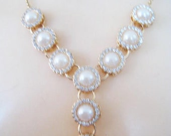 Rhinestone & Faux Pearl Necklace