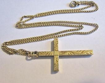 Engraved Design Vintage Gold Filled Cross