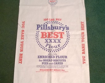 Pillsbury #100 Cotton Flour Sack, real new old stock !