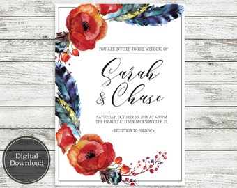 Boho Floral Rustic Wedding Invite | Digital Download, Printable File, Fully Customizable | Annabelle133
