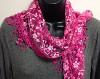 Hot Pink Lace Scarf with Fringe Shawl Scarf Long Scarf Women Fashion Accessories Gift for Her