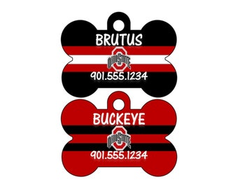 Ohio State Buckeyes Personalized Dog Tag Pet Id Tag w/ Name & Number