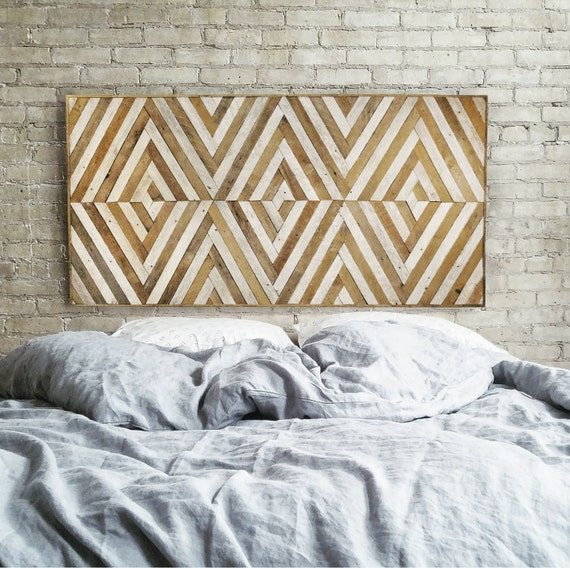 Reclaimed Wood Wall Art,Queen Headboard, Lath, Home Decor,Geometric Pattern, Chevron